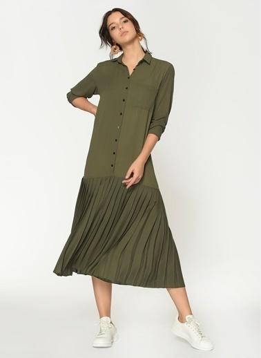 Loves You Uzun Kol Eteği Piliseli Şifon Elbise Haki